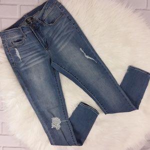 Versace Italia 1969 Rip Skinny Jeans Light Wash